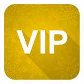 vip flat icon, gold christmas button