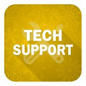 technical support flat icon, gold christmas button