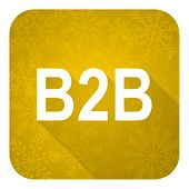 b2b flat icon, gold christmas button