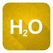 water flat icon, gold christmas button, h2o sign