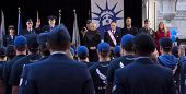NEW YORK - NOV 11, 2014: New recruits to the US Air Force are sworn in by Lt. Gen. Stephen L. Hoog during the 2014 America's Parade held on Veterans Day in New York City on November 11, 2014.