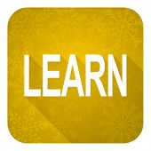 learn flat icon, gold christmas button