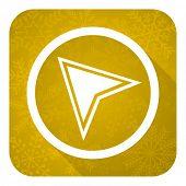 navigation flat icon, gold christmas button
