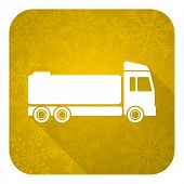 truck flat icon, gold christmas button, cargo sign