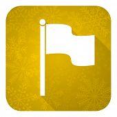 flag flat icon, gold christmas button