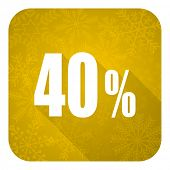 40 percent flat icon, gold christmas button, sale sign