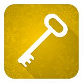 key flat icon, gold christmas button, secure symbol