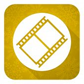 film flat icon, gold christmas button, movie sign, cinema symbol
