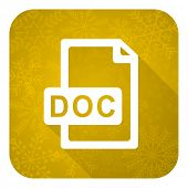 doc file flat icon, gold christmas button