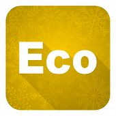 eco flat icon, gold christmas button, ecological sign