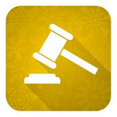 auction flat icon, gold christmas button, court sign, verdict symbol