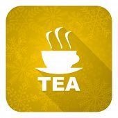 tea flat icon, gold christmas button, hot cup of tea sign