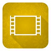 movie flat icon, gold christmas button