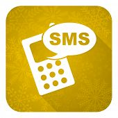 sms flat icon, gold christmas button, phone sign