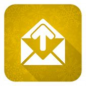 email flat icon, gold christmas button, post message sign