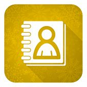 address book flat icon, gold christmas button