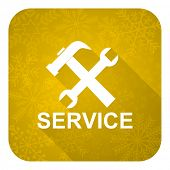 service flat icon, gold christmas button