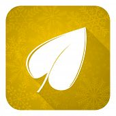 nature flat icon, gold christmas button, leaf symbol