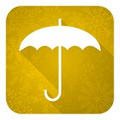 umbrella flat icon, gold christmas button, protection sign
