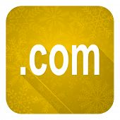 com flat icon, gold christmas button