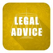 legal advice flat icon, gold christmas button, law sign
