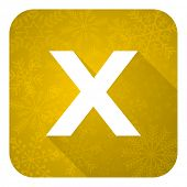 cancel flat icon, gold christmas button