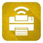 printer flat icon, gold christmas button, wireless print sign