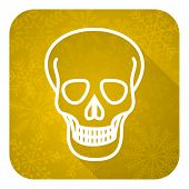 skull flat icon, gold christmas button, death sign