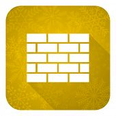 firewall flat icon, gold christmas button, brick wall sign