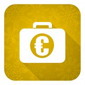 financial flat icon, gold christmas button
