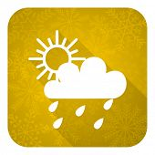 rain flat icon, gold christmas button, waether forecast sign