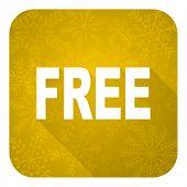 free flat icon, gold christmas button