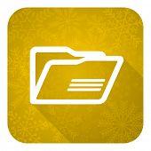 folder flat icon, gold christmas button