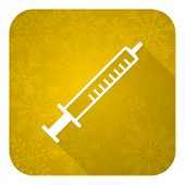 medicine flat icon, gold christmas button, syringe sign