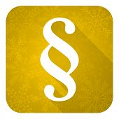 paragraph flat icon, gold christmas button, law sign