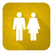 couple flat icon, gold christmas button, people sign, team symbol