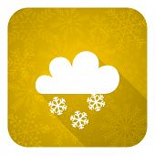 snowing flat icon, gold christmas button, waether forecast sign