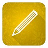 pencil flat icon, gold christmas button