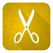 scissors flat icon, gold christmas button, cut sign