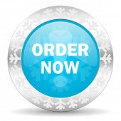 order now icon, christmas button