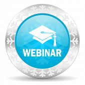webinar icon, christmas button