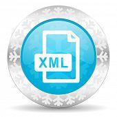 xml file icon, christmas button