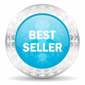 best seller icon, christmas button