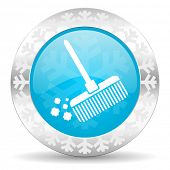broom icon, christmas button, clean sign
