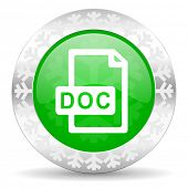 doc file green icon, christmas button