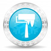 brush icon, christmas button, paint sign