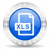 xls file blue icon, christmas button