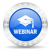 webinar blue icon, christmas button