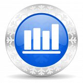 bar chart blue icon, christmas button