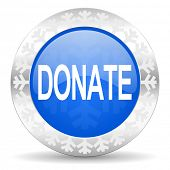 donate blue icon, christmas button